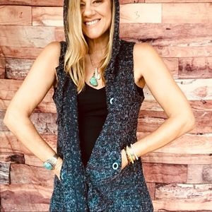 For Cynthia hooded flare sweater vest S